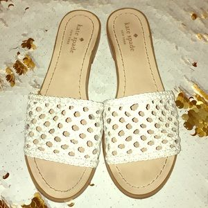 Kate Spade ♠️ white leather sandals
